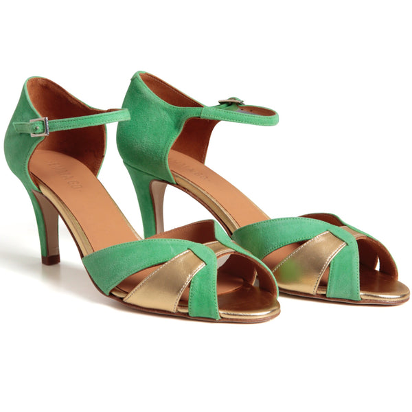 Astrid Suede Green & Gold