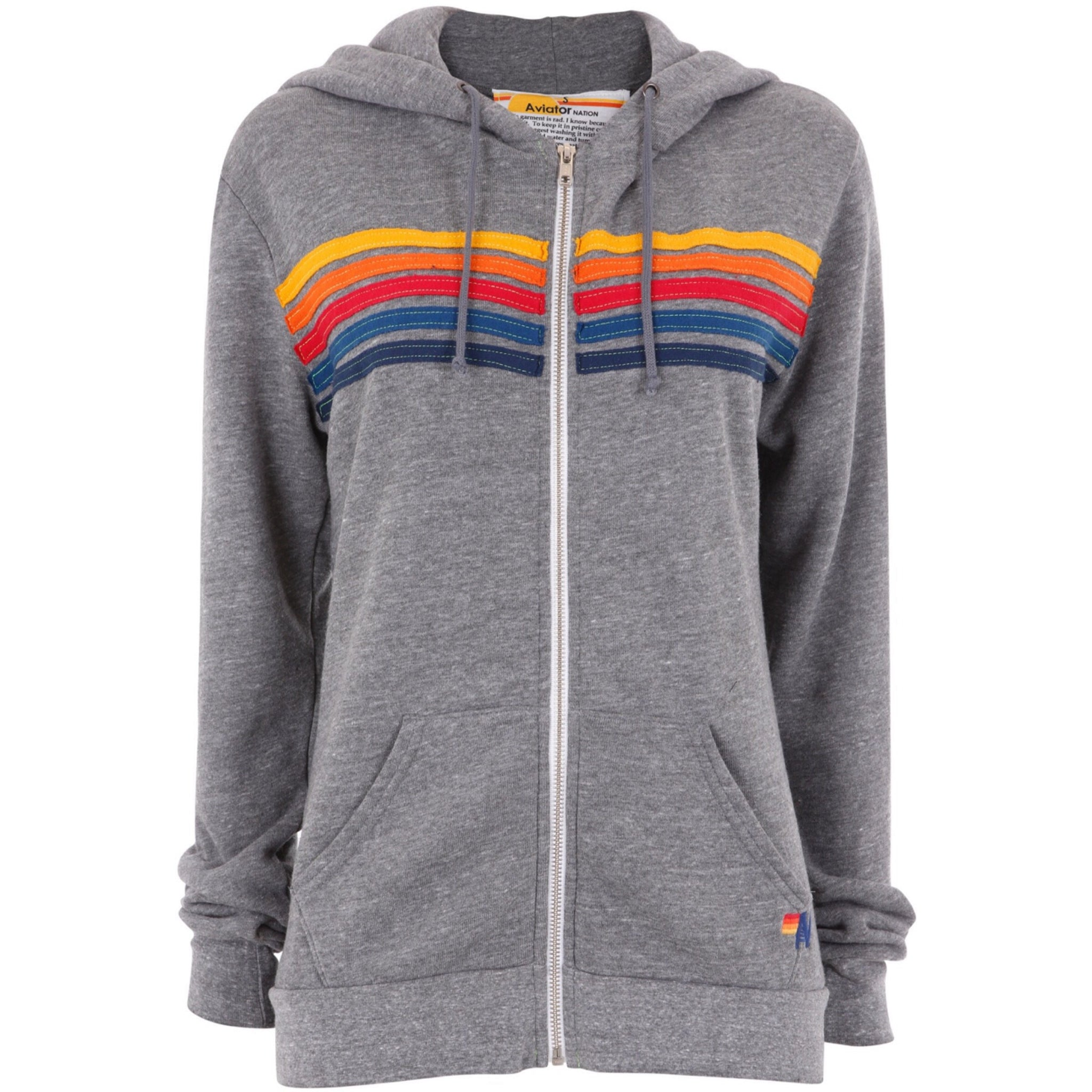 grey hoodie stripes multi colour zip up