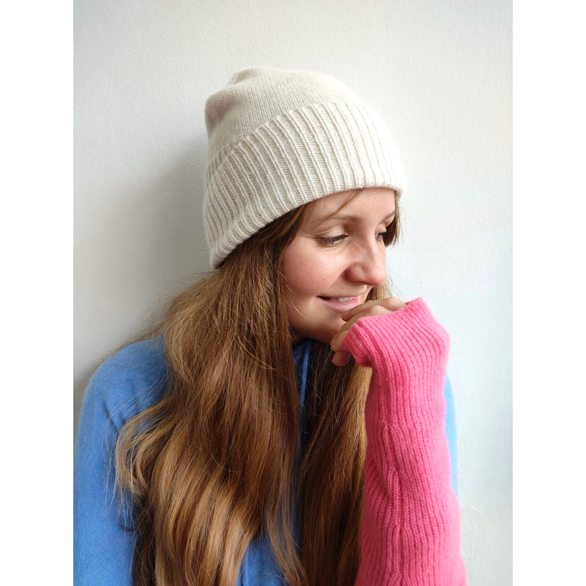 Ribbed Cream Beanie
