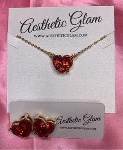 Glam Hearts Necklace w/matching earrings