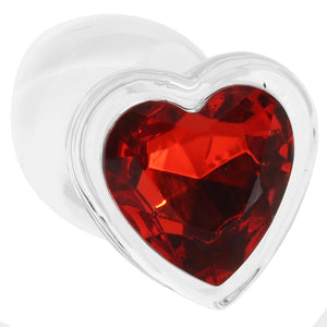 Booty Sparks Red Heart Gem Glass Anal Plug Set