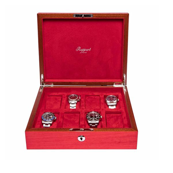 Rapport Heritage Red 8 Watch Box L421 - Hamilton & Lewis Jewellery