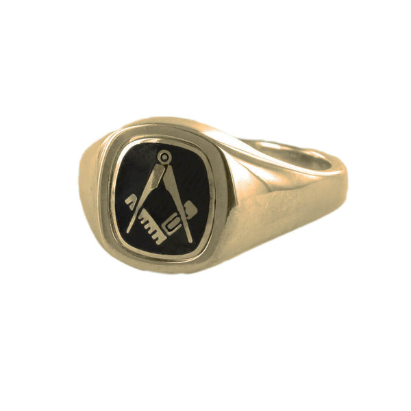 Black Reversible Cushion Head Solid Gold Square and Compass Masonic Ring - Hamilton & Lewis Jewellery