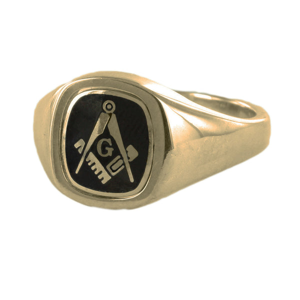 Black Reversible Cushion Head Solid Gold Square and Compass with G Masonic Ring - Hamilton & Lewis Jewellery