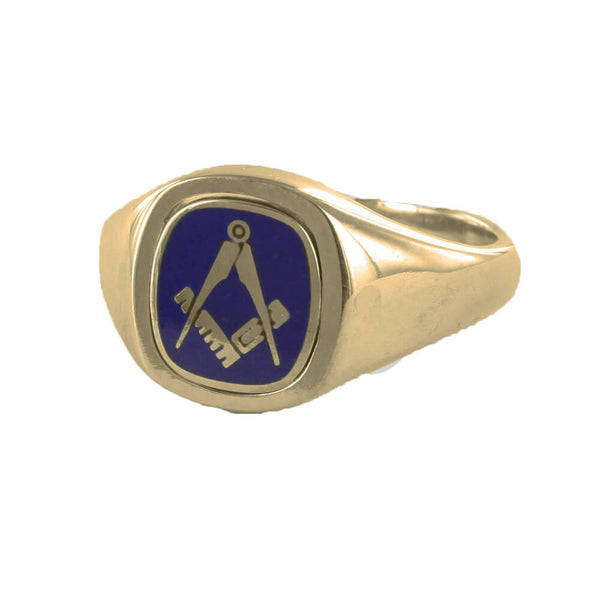 Blue Reversible Cushion Head Solid Gold Square and Compass Masonic Ring - Hamilton & Lewis Jewellery