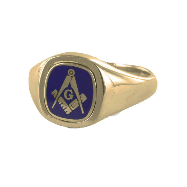 Blue Reversible Cushion Head Solid Gold Square and Compass with G Masonic Ring - Hamilton & Lewis Jewellery