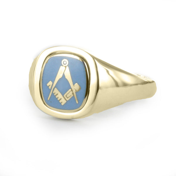Light Blue Reversible Cushion Head Solid Gold Square and Compass Masonic Ring - Hamilton & Lewis Jewellery