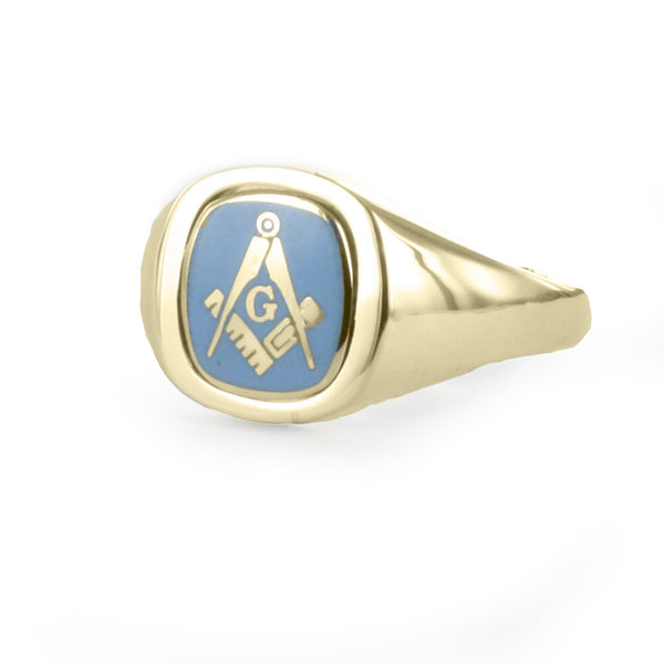 Light Blue Reversible Cushion Head Solid Gold Square and Compass with G Masonic Ring - Hamilton & Lewis Jewellery