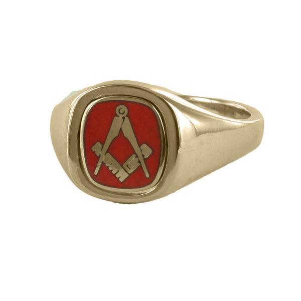 Red Reversible Cushion Head Solid Gold Square and Compass Masonic Ring - Hamilton & Lewis Jewellery