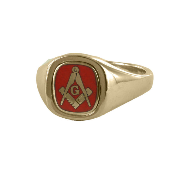 Red Reversible Cushion Head Solid Gold Square and Compass with G Masonic Ring - Hamilton & Lewis Jewellery