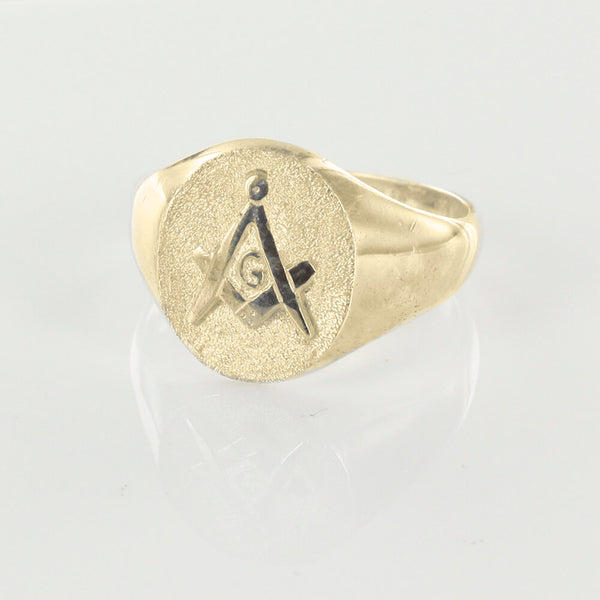 Oval Head Gold Masonic Signet Ring Bearing the Square & Compass Symbol/Seal - Hamilton & Lewis Jewellery