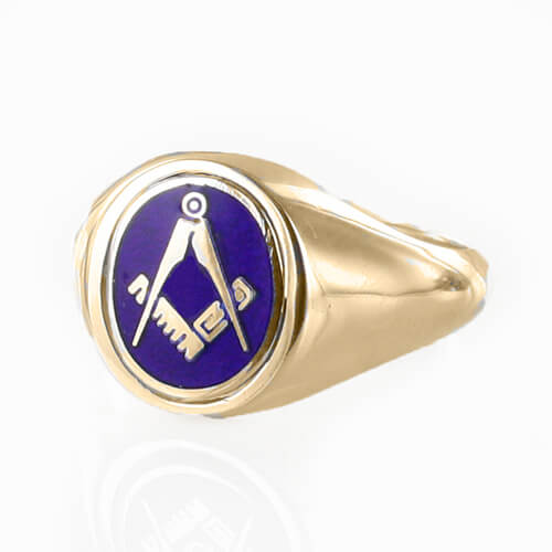 Blue Reversible 9ct Gold Square and Compass Masonic Ring - Hamilton & Lewis Jewellery