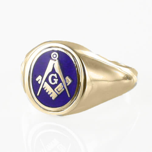 Blue Reversible 9ct Gold Square and Compass with G Masonic Ring - Hamilton & Lewis Jewellery