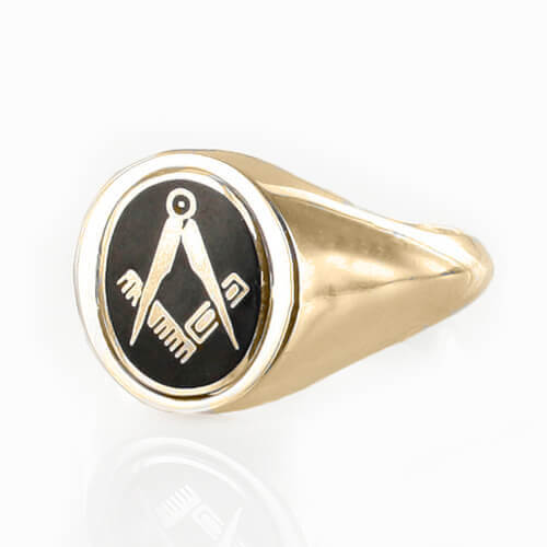 Black Reversible 9ct Gold Square and Compass Masonic Ring - Hamilton & Lewis Jewellery