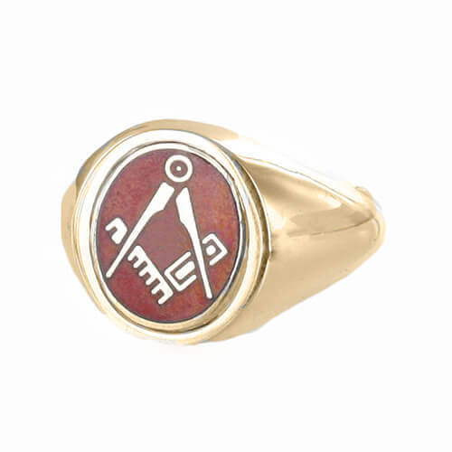 Red Reversible 9ct Gold Square and Compass Masonic Ring - Hamilton & Lewis Jewellery