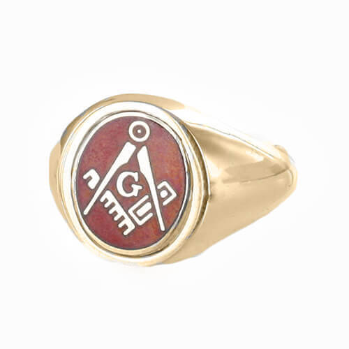 Red Reversible 9ct Gold Square and Compass with G Masonic Ring - Hamilton & Lewis Jewellery