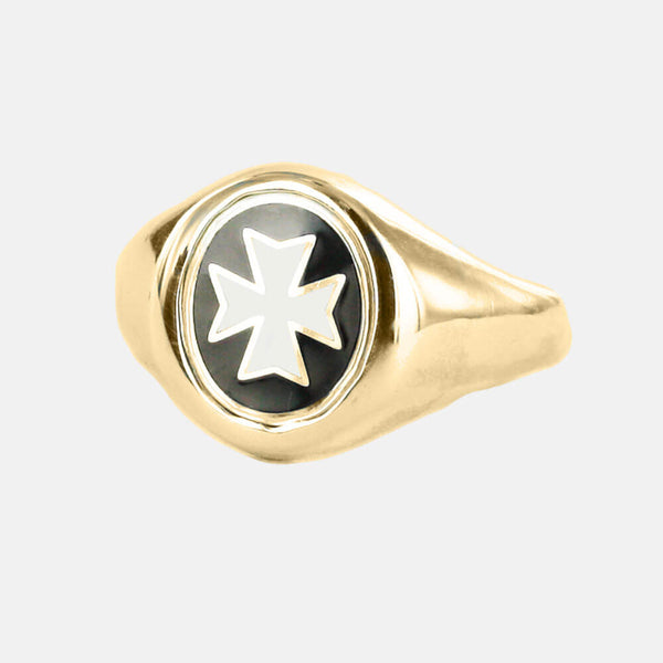 Gold Knights of Malta Masonic Ring- Fixed Head - Hamilton & Lewis Jewellery