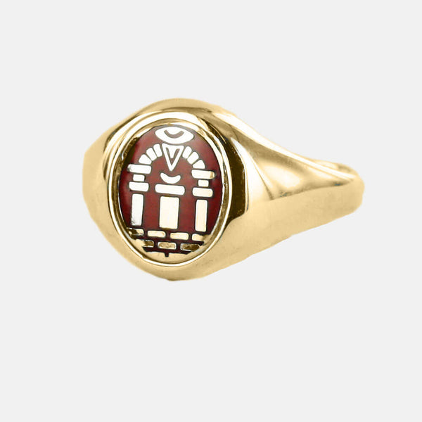 Gold Royal Arch Masonic Ring (Red)- Fixed Head - Hamilton & Lewis Jewellery