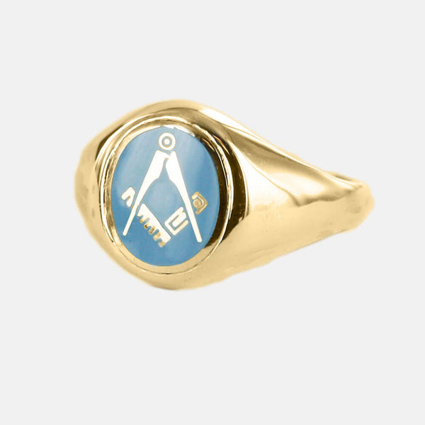 Gold Square And Compass Oval Head Masonic Ring (Light Blue)- Fixed Head - Hamilton & Lewis Jewellery