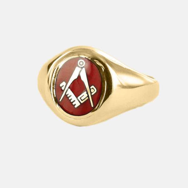 Gold Square And Compass Oval Head Masonic Ring (Red)- Fixed Head - Hamilton & Lewis Jewellery