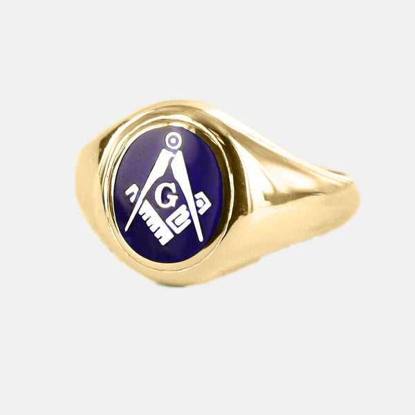 Gold Square And Compass with G Oval Head Masonic Ring (Blue)- Fixed Head - Hamilton & Lewis Jewellery