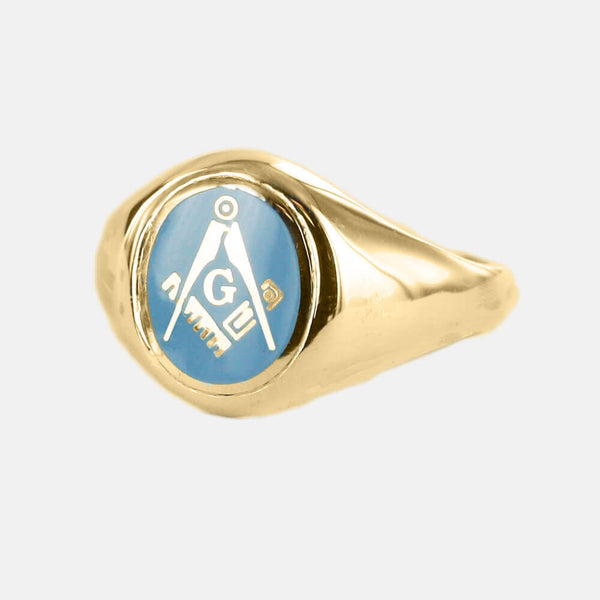 Gold Square And Compass with G Oval Head Masonic Ring (Light Blue)- Fixed Head - Hamilton & Lewis Jewellery