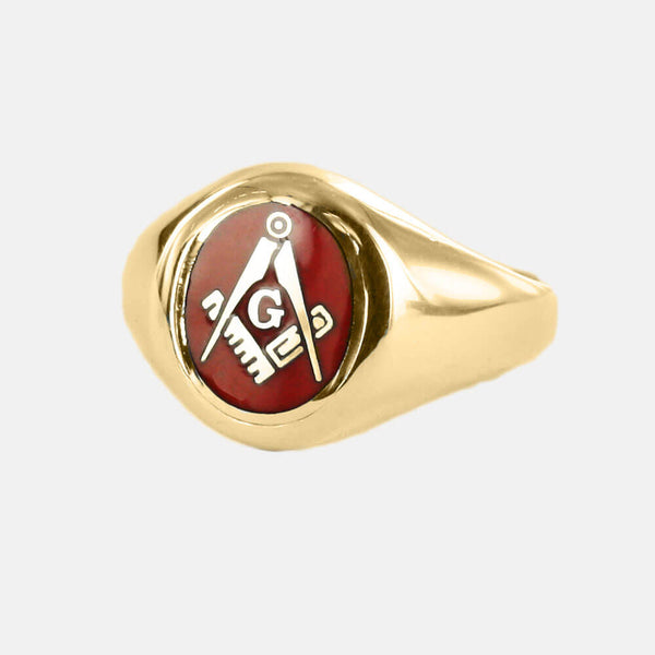 Gold Square And Compass with G Oval Head Masonic Ring (Red)- Fixed Head - Hamilton & Lewis Jewellery