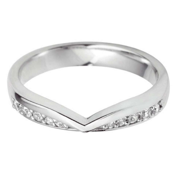 'V' Diamond Set shaped wedding ring - Hamilton & Lewis Jewellery