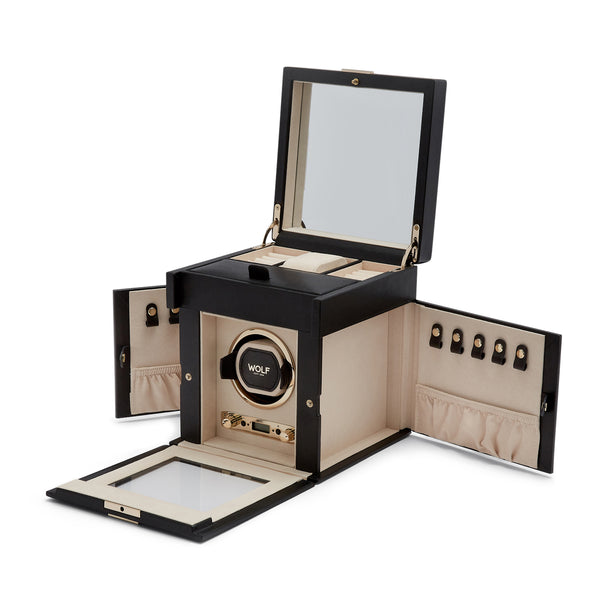 Wolf Single Black Palermo Winder with Storage 213702 - Hamilton & Lewis Jewellery