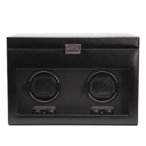 Wolf Double Black Heritage Winder with Storage 270402 - Hamilton & Lewis Jewellery