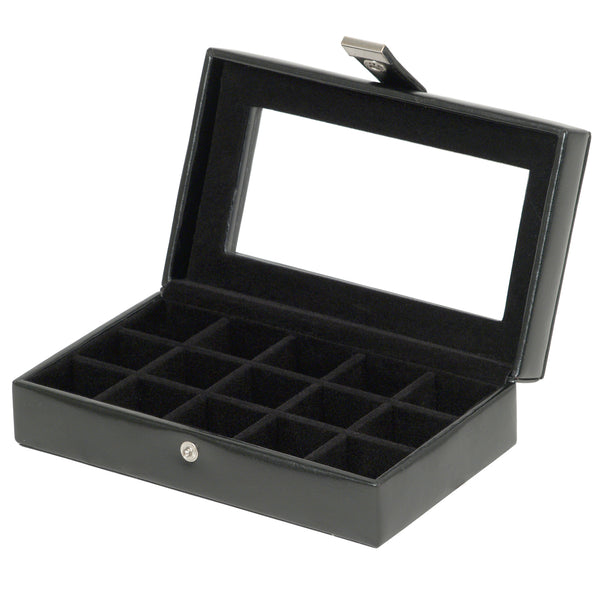 Wolf 15 Piece Cufflink Box With Glass 290102 - Hamilton & Lewis Jewellery