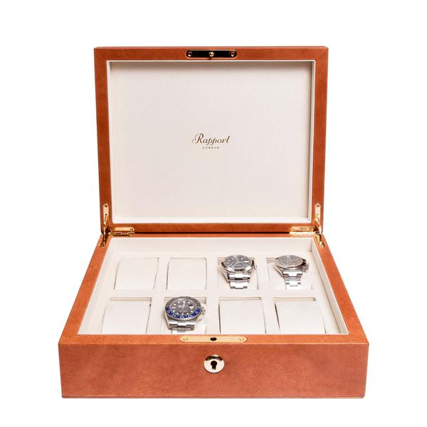 Rapport Vintage Tan 8 Watch Box L432 - Hamilton & Lewis Jewellery