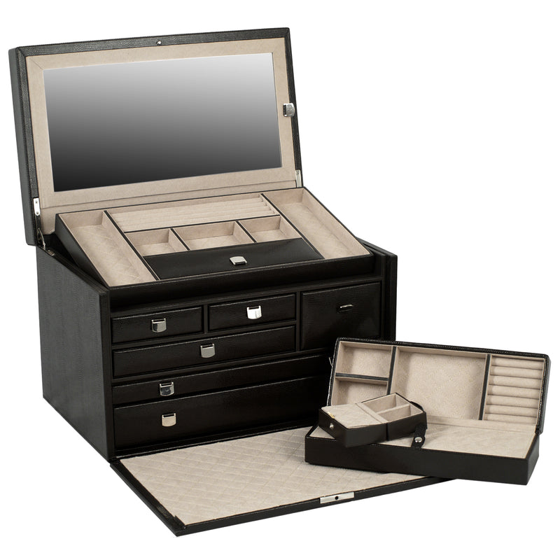 Wolf Cocoa London Large Jewellery Box 315006 - Hamilton & Lewis Jewellery