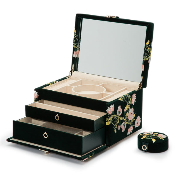 Wolf Forest Green Zoe Medium Jewellery Box 393112 - Hamilton & Lewis Jewellery