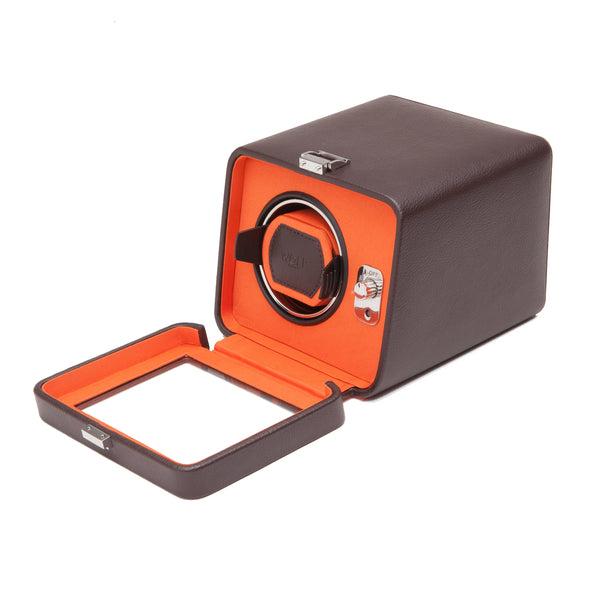 Wolf Single Brown/Orange Windsor Winder with Cover 452506 - Hamilton & Lewis Jewellery
