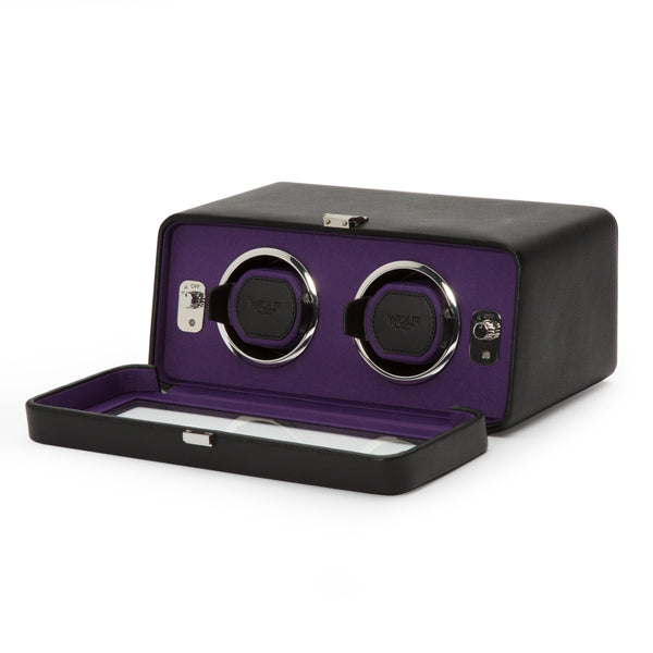 Wolf Double Black/Purple Windsor Winder 452603 - Hamilton & Lewis Jewellery