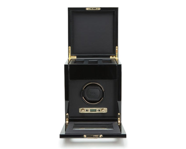 Wolf Single Burlwood Savoy Winder with Storage 454510 - Hamilton & Lewis Jewellery