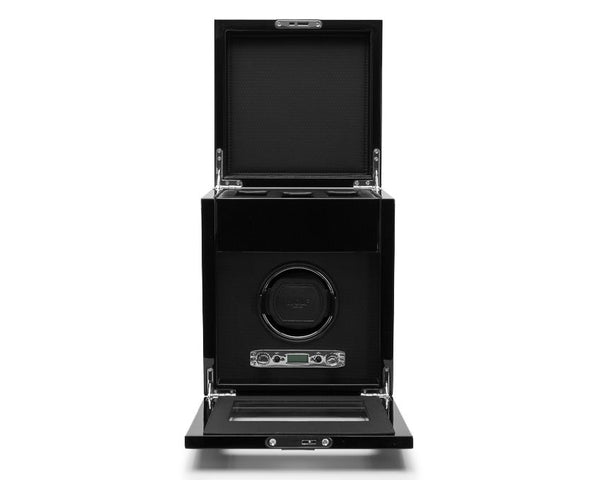 Wolf Single Black Savoy Winder with Storage 454570 - Hamilton & Lewis Jewellery