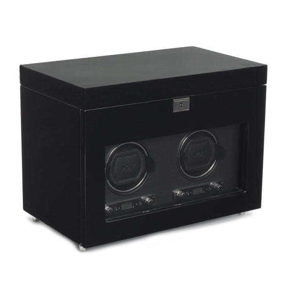 Wolf Double Black Savoy Winder with Storage 454670 - Hamilton & Lewis Jewellery