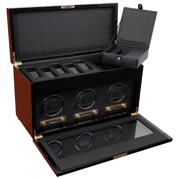 Wolf Triple Burlwood Savoy Winder with Storage 454710 - Hamilton & Lewis Jewellery