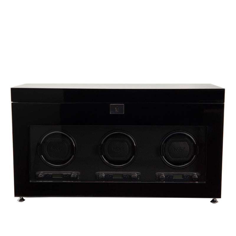 Wolf Triple Black Savoy Winder with Storage 454770 - Hamilton & Lewis Jewellery
