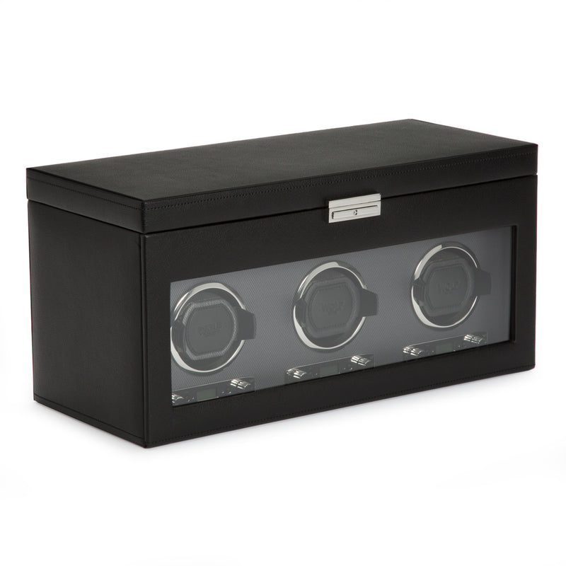 Wolf Triple Black Viceroy Winder with Storage 456302 - Hamilton & Lewis Jewellery