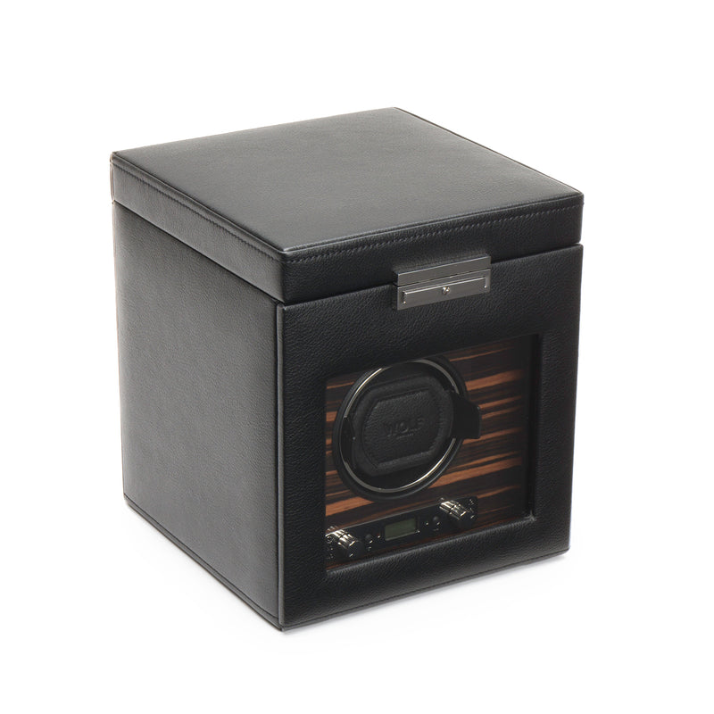 Wolf Single Black Roadster Winder with Storage 457156 - Hamilton & Lewis Jewellery