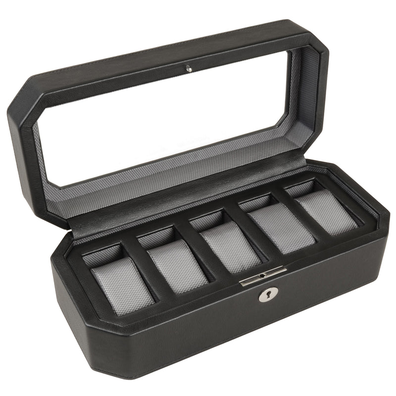 Wolf 5 Piece Black/Grey Windsor Watch Box 4583029 - Hamilton & Lewis Jewellery