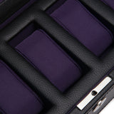 Wolf 5 Piece Black/Purple Windsor Watch Box 458303 - Hamilton & Lewis Jewellery