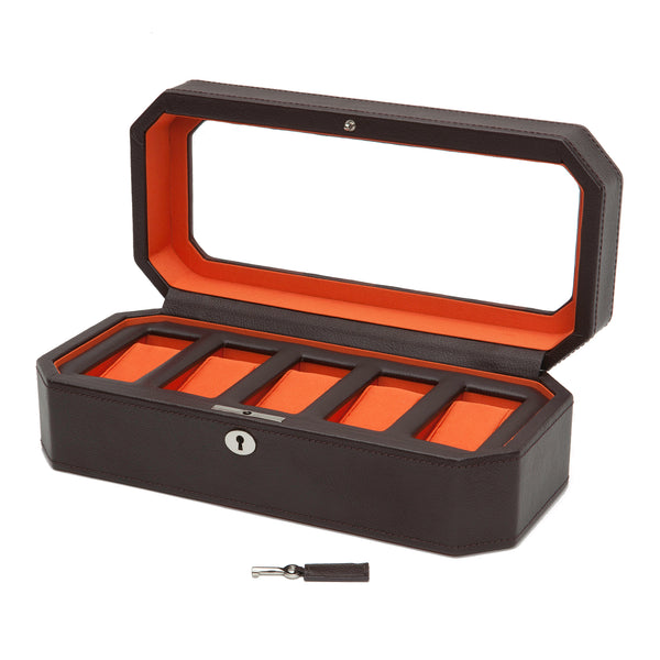 Wolf 5 Piece Brown/Orange Windsor Watch Box 458306