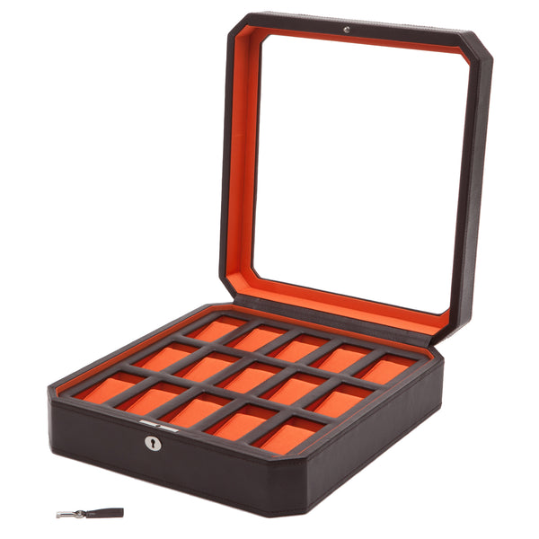 Wolf 15 Piece Black Windsor Watch Box 458506 - Hamilton & Lewis Jewellery