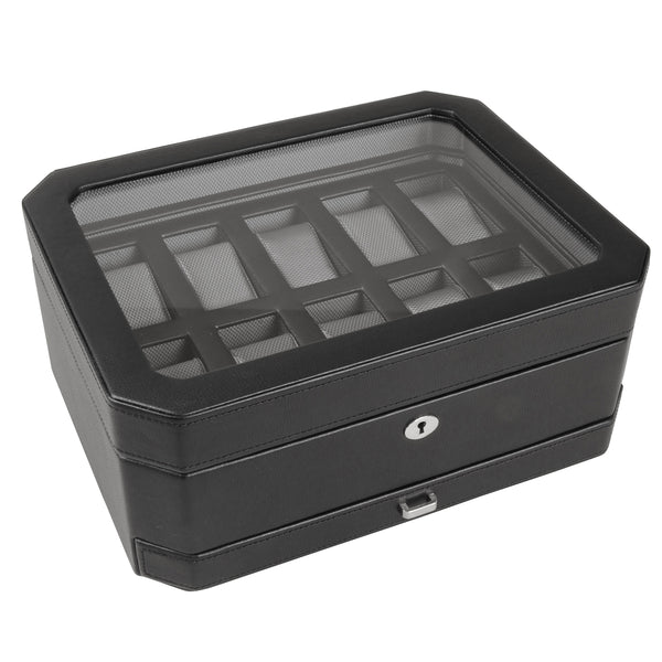 Wolf 10 Piece Black Windsor Watch Box with Drawer 4586029 - Hamilton & Lewis Jewellery