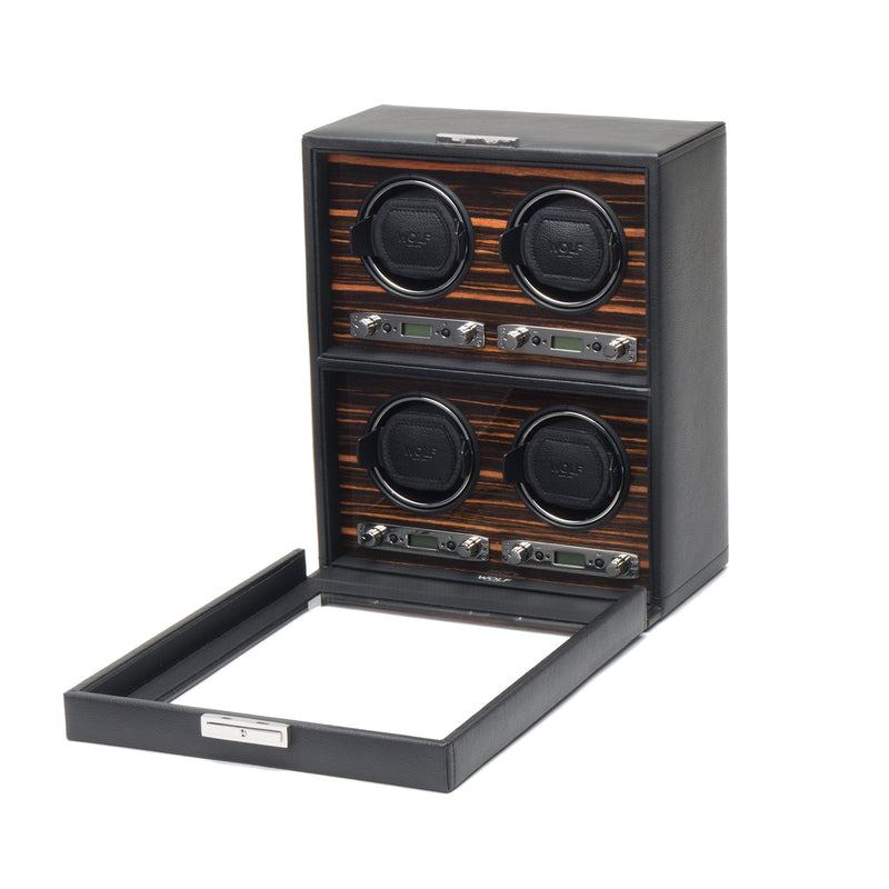 Wolf Quad Black Roadster Winder 459156 - Hamilton & Lewis Jewellery