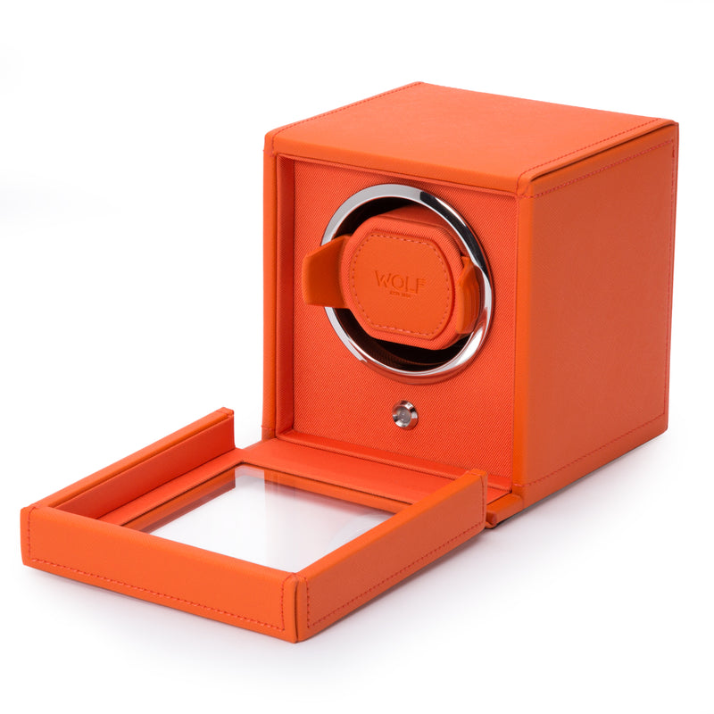 Wolf Single Orange Cub Winder with Cover 461139 - Hamilton & Lewis Jewellery